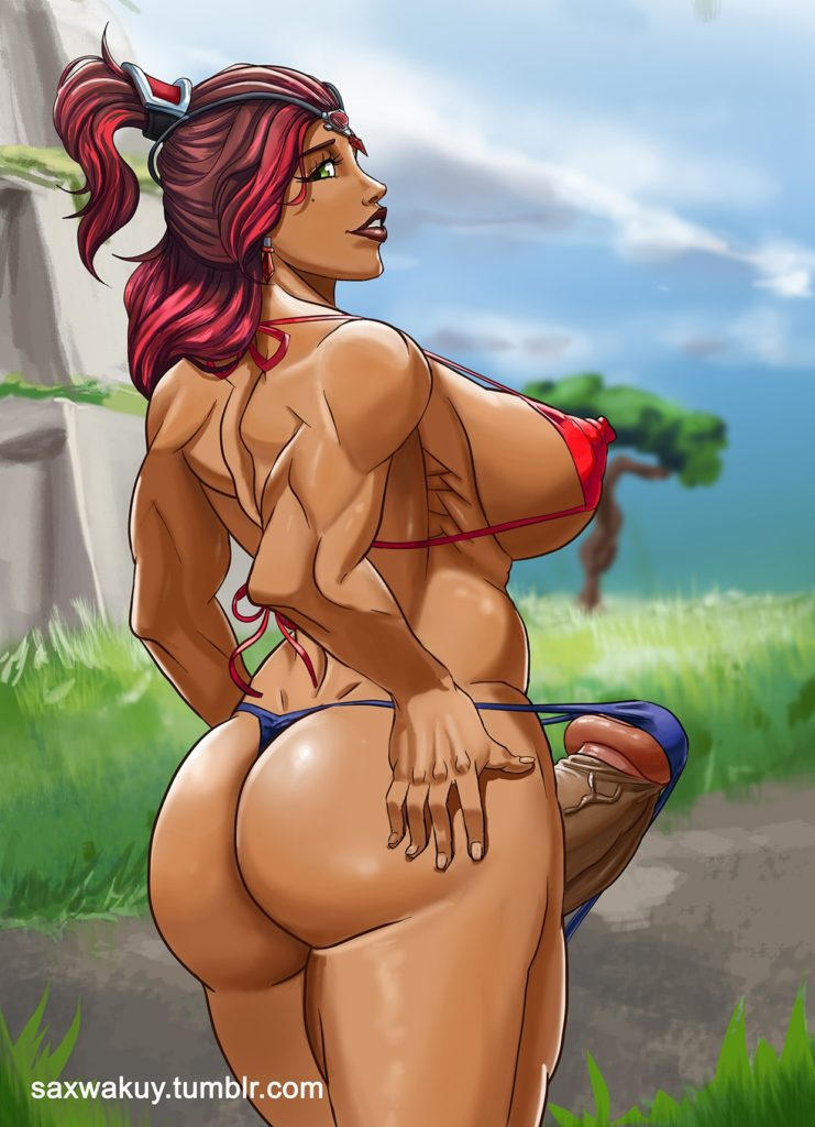 Thick and Muscular futa girl Valor has a giant erection in her bikini