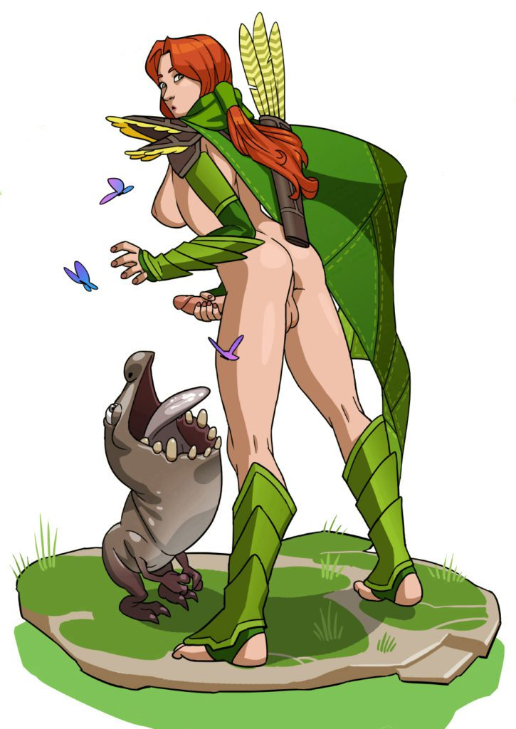 Futa Windranger jacking off into a creatures mouth