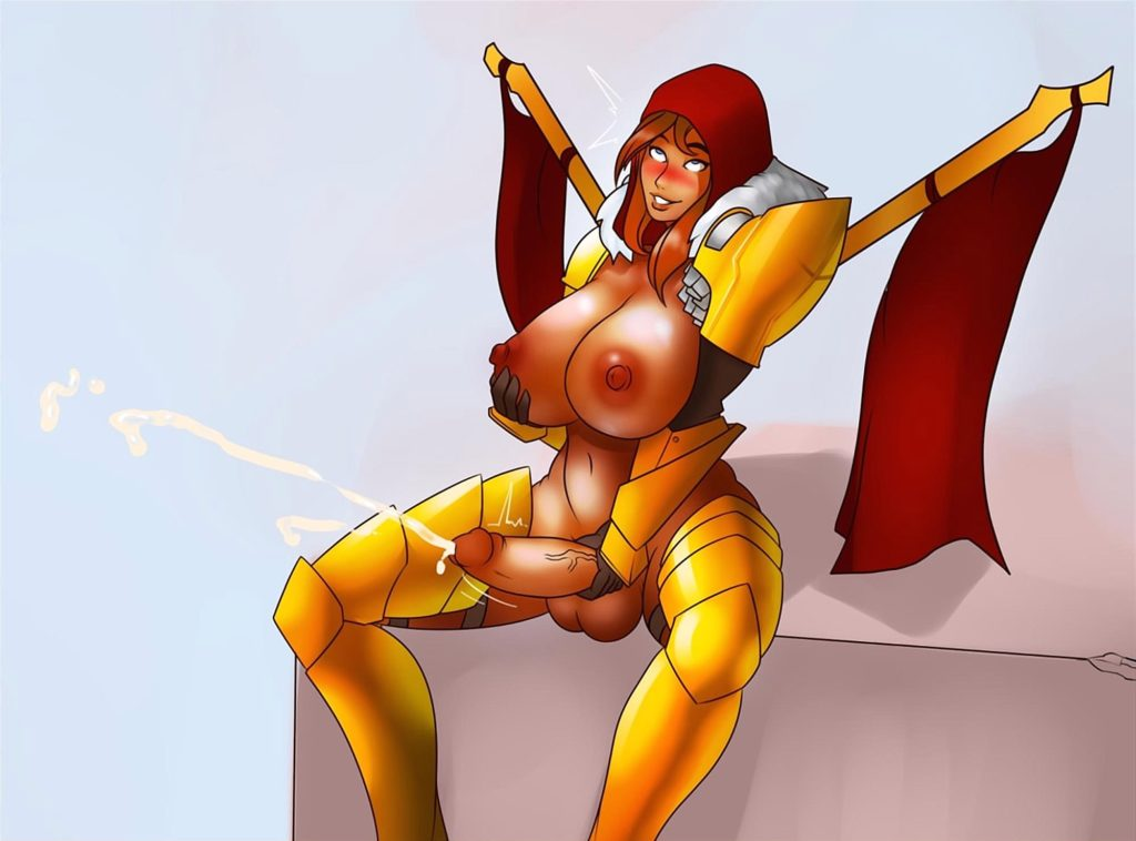 Legion Commander jerking off her futa cock and cums