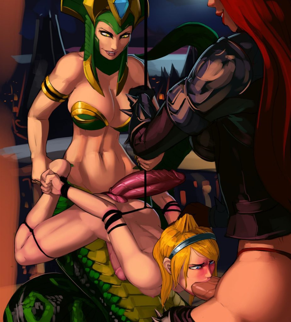 Futa Katarina can barely fit her dick in Lux's mouth and futa Cassiopeia is fucking her with two dicks