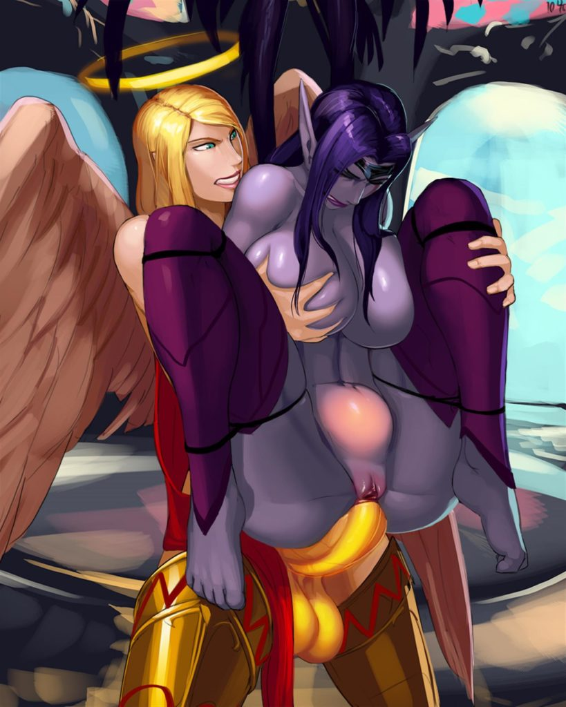 Futa angel Kayle purifying Morgana's asshole with a holy cock