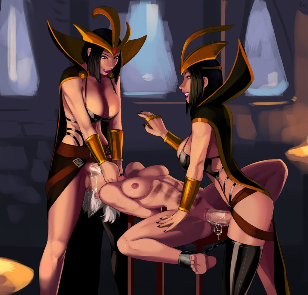 Futa Leblanc clones fucking Riven's both holes