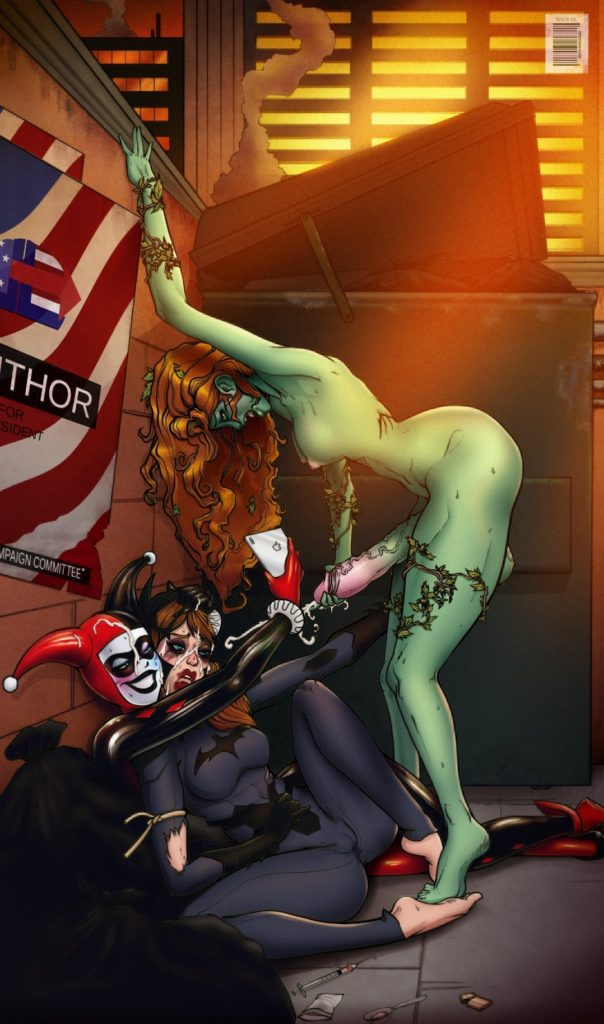 Harley Quinn and Poison Ivy having futanari fun with Batgirl and taking pictures