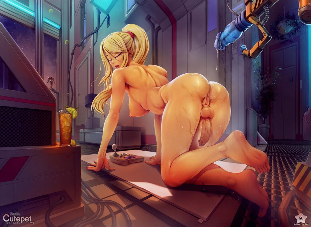 Futanari Samus Aran on her knees after getting fucked by a dildo fucking machine - Hq art