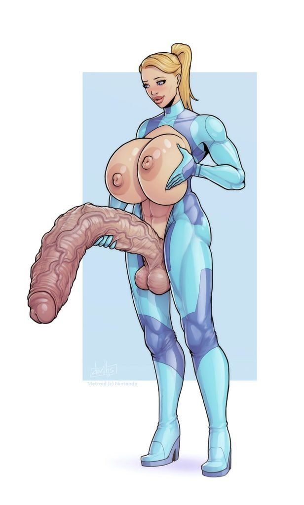 Futanari bimbo Samus Aran with a huge dick and big boobs