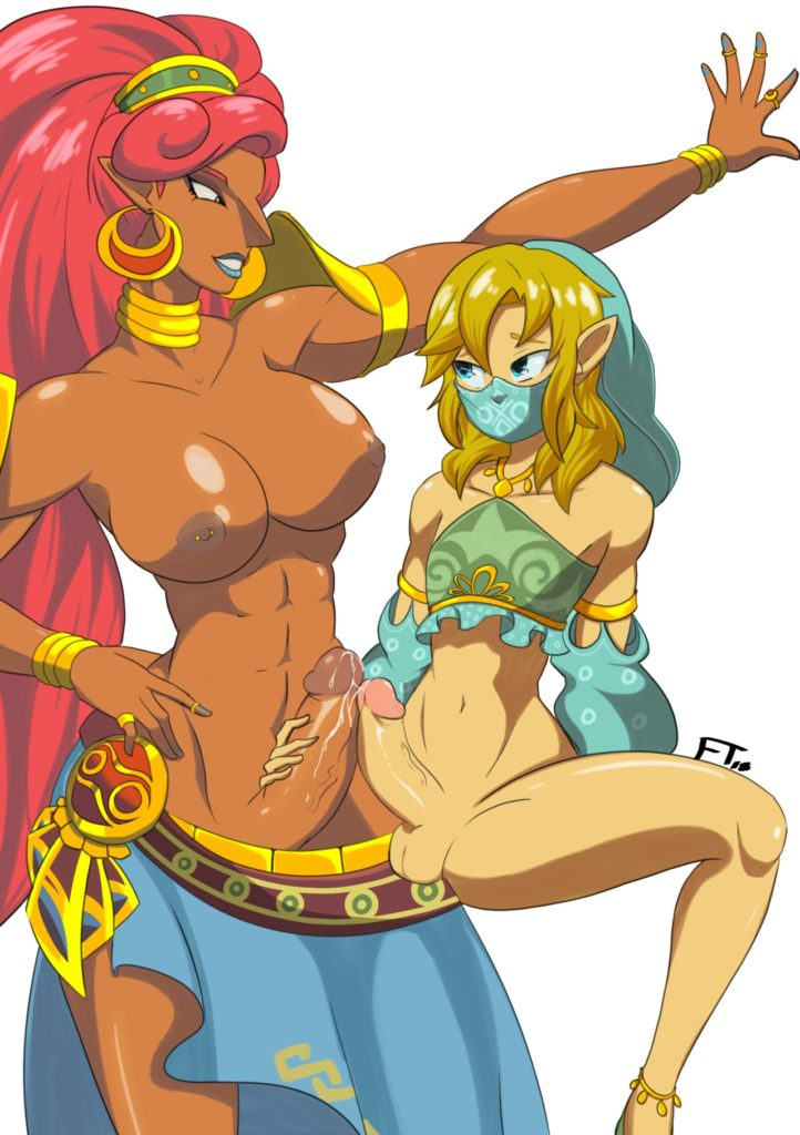 Gerudo Link and futa Urbosa rubbing dicks together