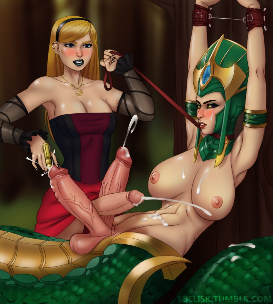 Futa Lux rubbing her dick between Cassiopeia two cocks