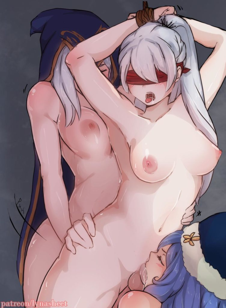 Juvia Lockser giving futanari Weiss Schnee a blowjob while Ashe fucks her from behind - League of Legends Rule34