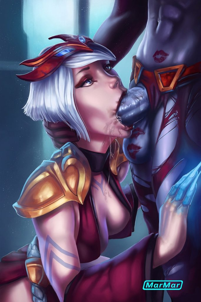 Elise giving futanari Queen of Pain a blowjob and drinking her cum