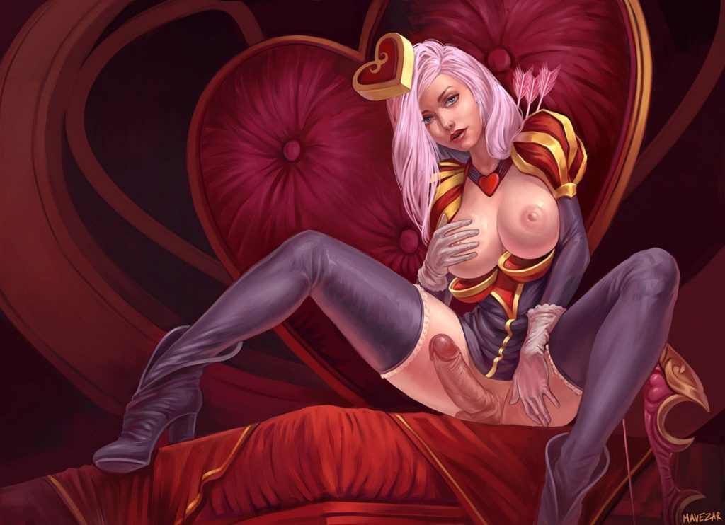 Futanari Heartseeker Ashe's big and erect dick