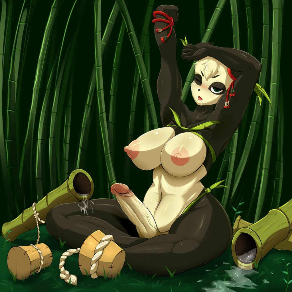 Wakfu Panda girl with big tits Pandawa and her futanari dick