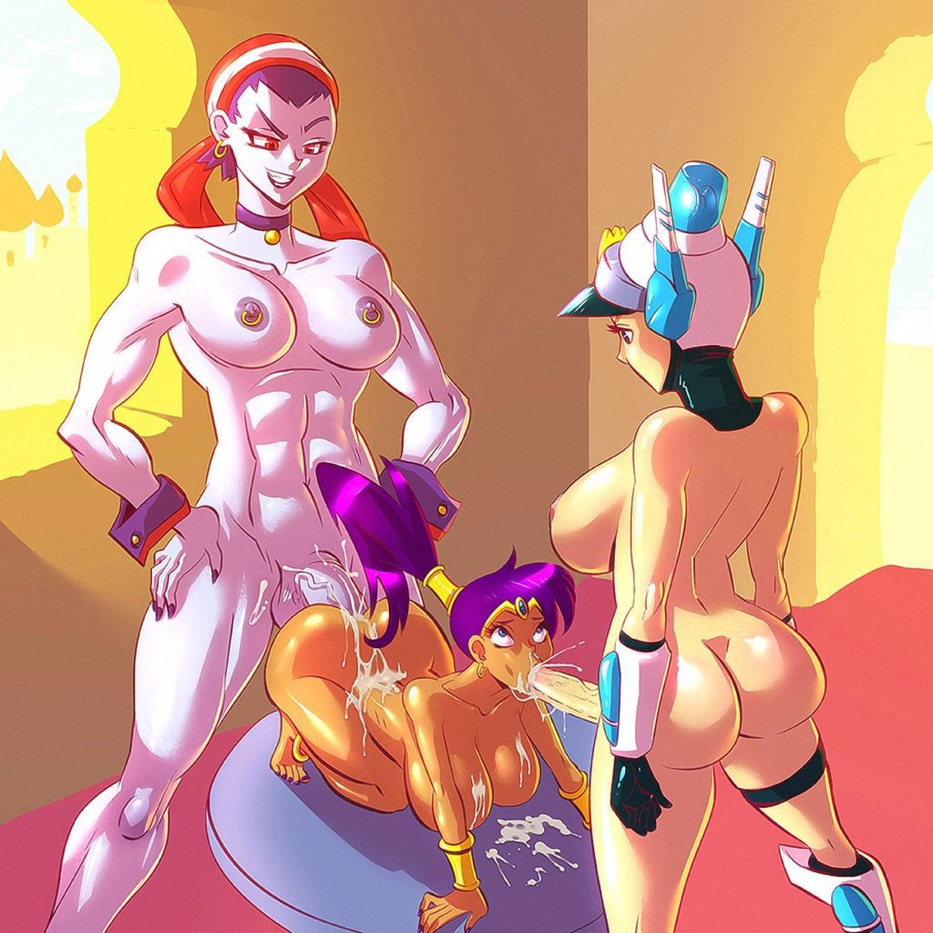 Fit futanari Risky Boots fucking Shantae's ass while Patricia Wagon cums in her mouth