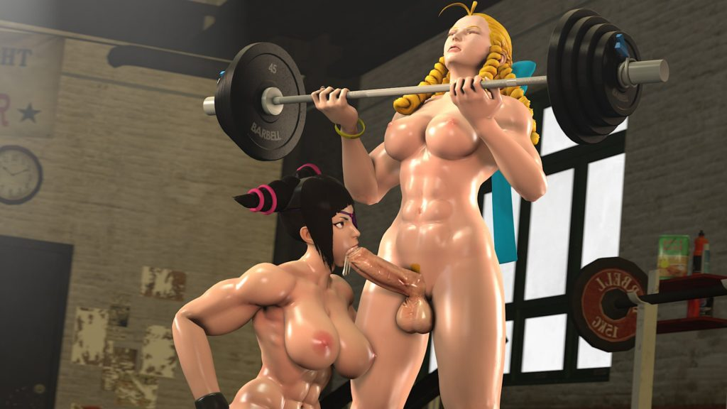 Juri Han blowing Karin Kanzuki's futa dick while she lifts weights