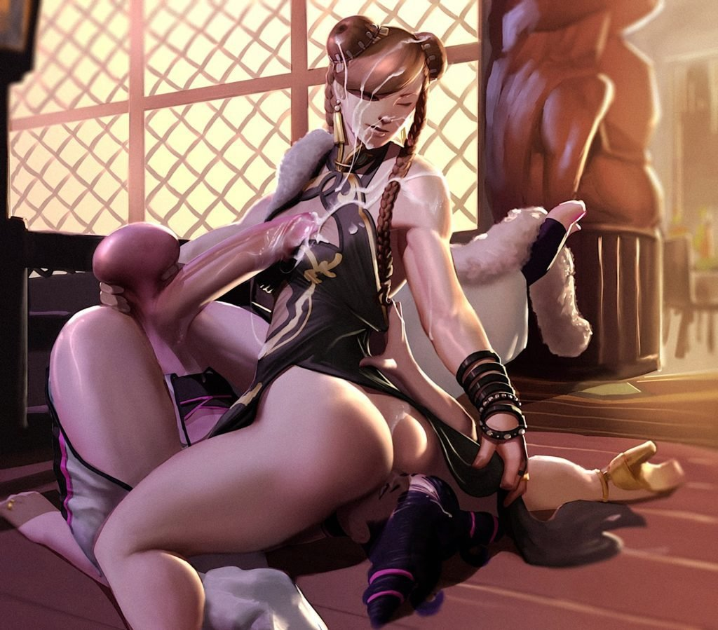 Chun Li sitting on Juri Han's face and making her futa dick cum