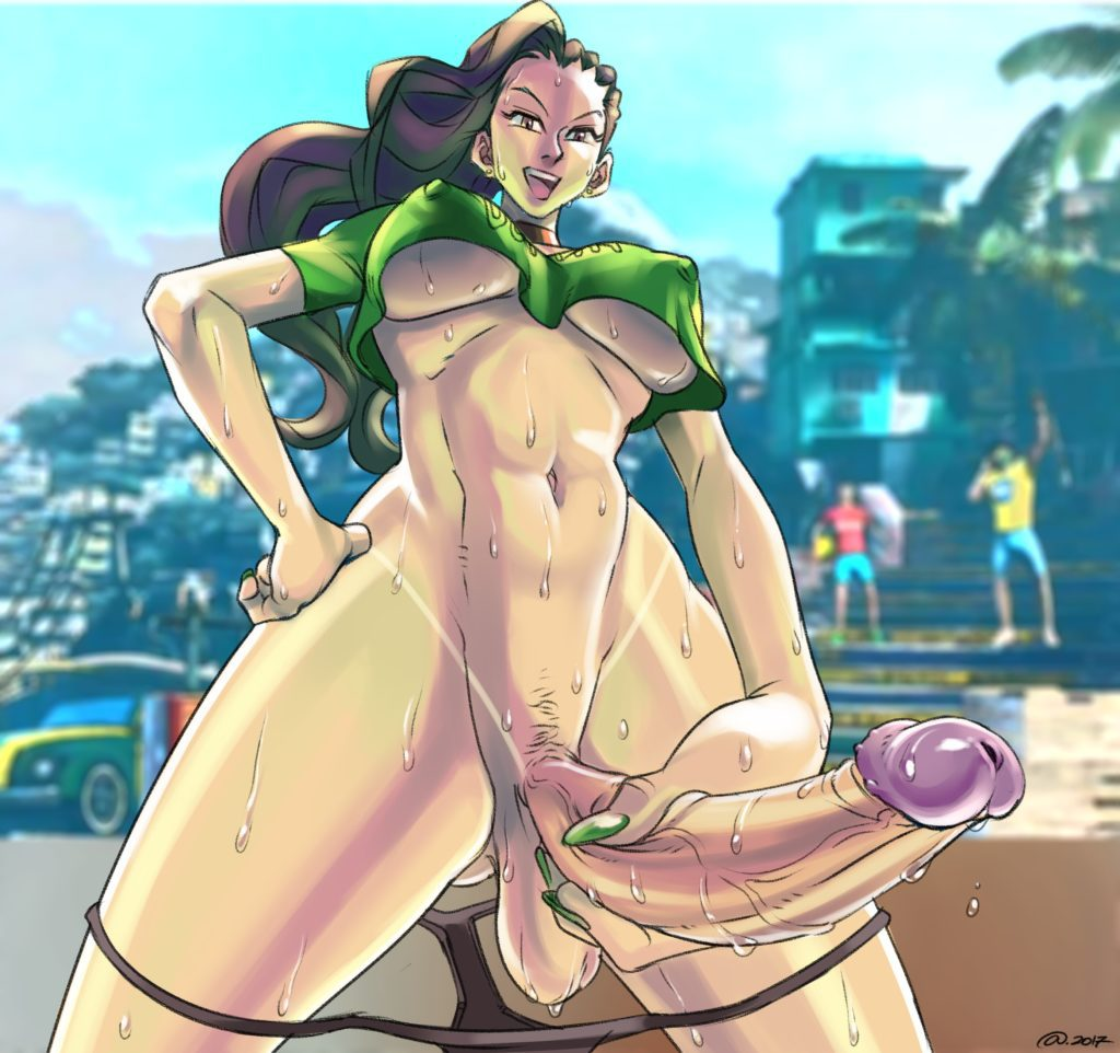 Laura Matsuda jerking off her long futa dick