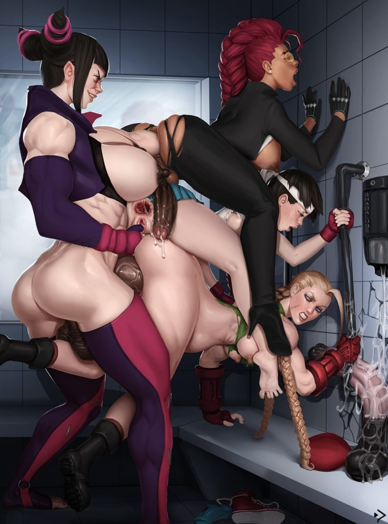 Street Fighter futanari orgy with Cammy White,Crimson Viper,Juri Han and Sakura Kasugano