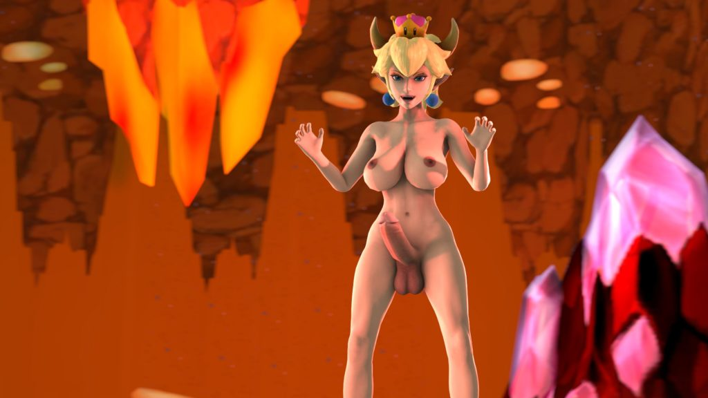 Futanari Bowsette doing the gawww pose