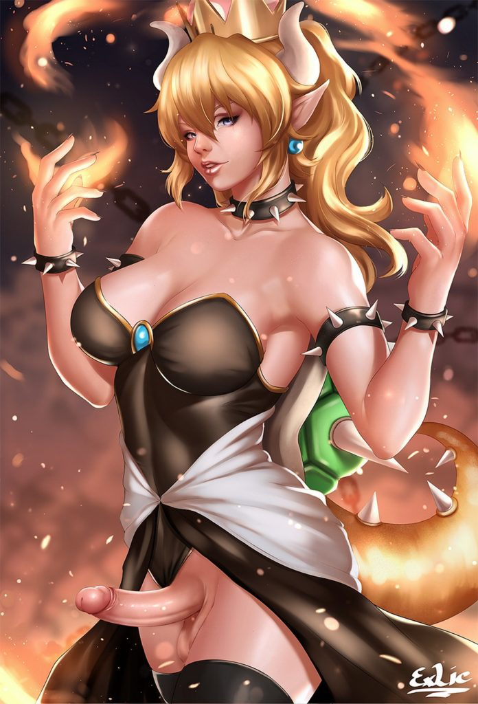 Futanari Bowsette in her black dress with her dick out