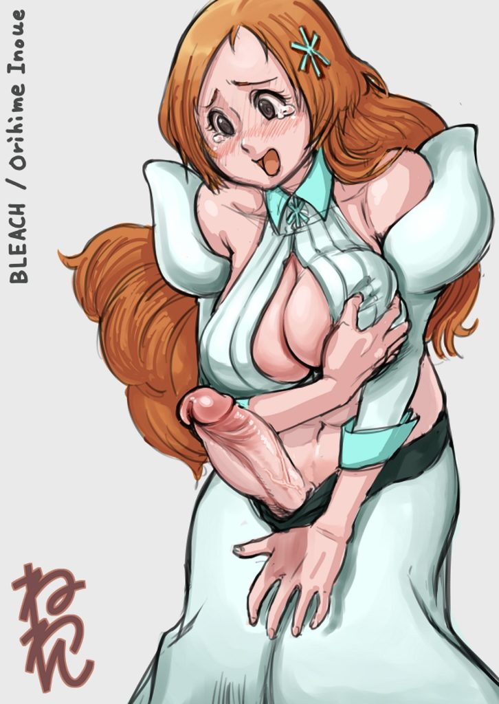 Futa Inoue Orihime embarrased about her erect cock