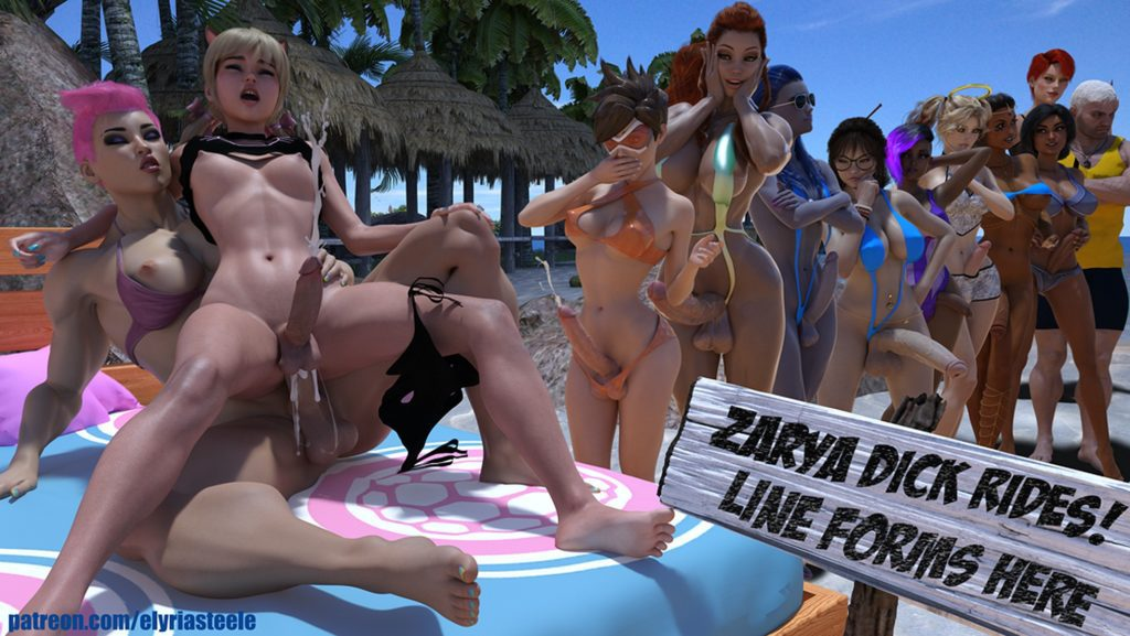 Elyria Steele - Futa Zarya dick rides line forms here Overwatch 3d hentai cartoon porn rule 34