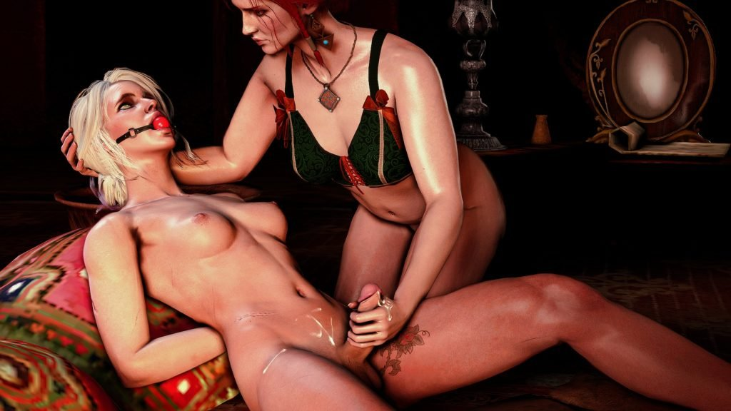 Dentol - Triss giving futa Ciri a handjob The Witcher hentai 3d porn rule 34