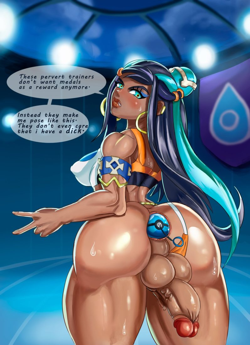 Saxwakuy - Futanari Nessa posing for fans with a pokeball in her asshole Pokemon Sword and Shield porn rule 34 hentai