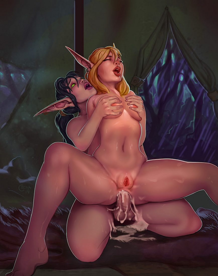 Cronart - Futanari night elf fucking a blood elf hentai porn