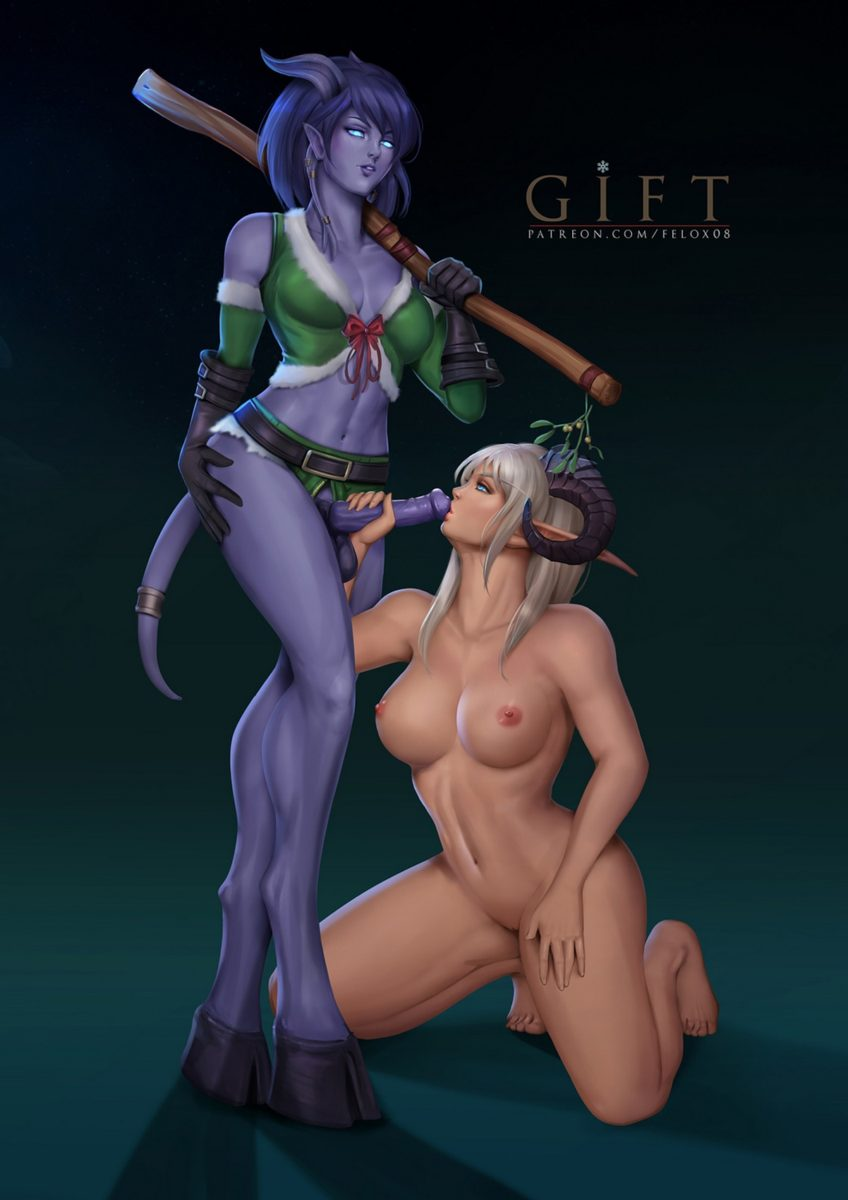 Felox08 - Futanari draenei high elf Christmas porn