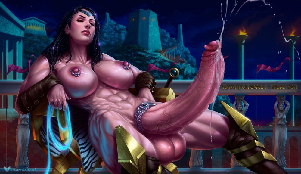 VincentCC - Futanari Wonder Woman muscular abs porn 4