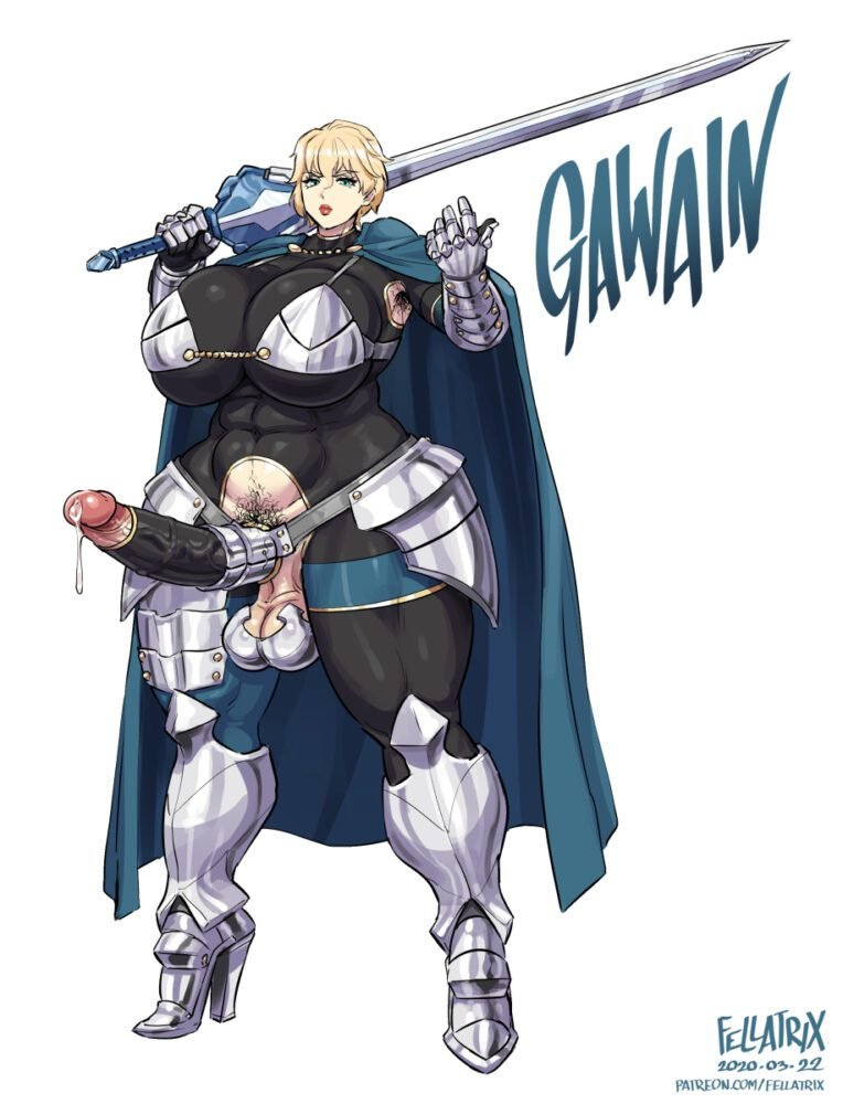 Fellatrix - Muscular futa Gawain fate grand order armor porn