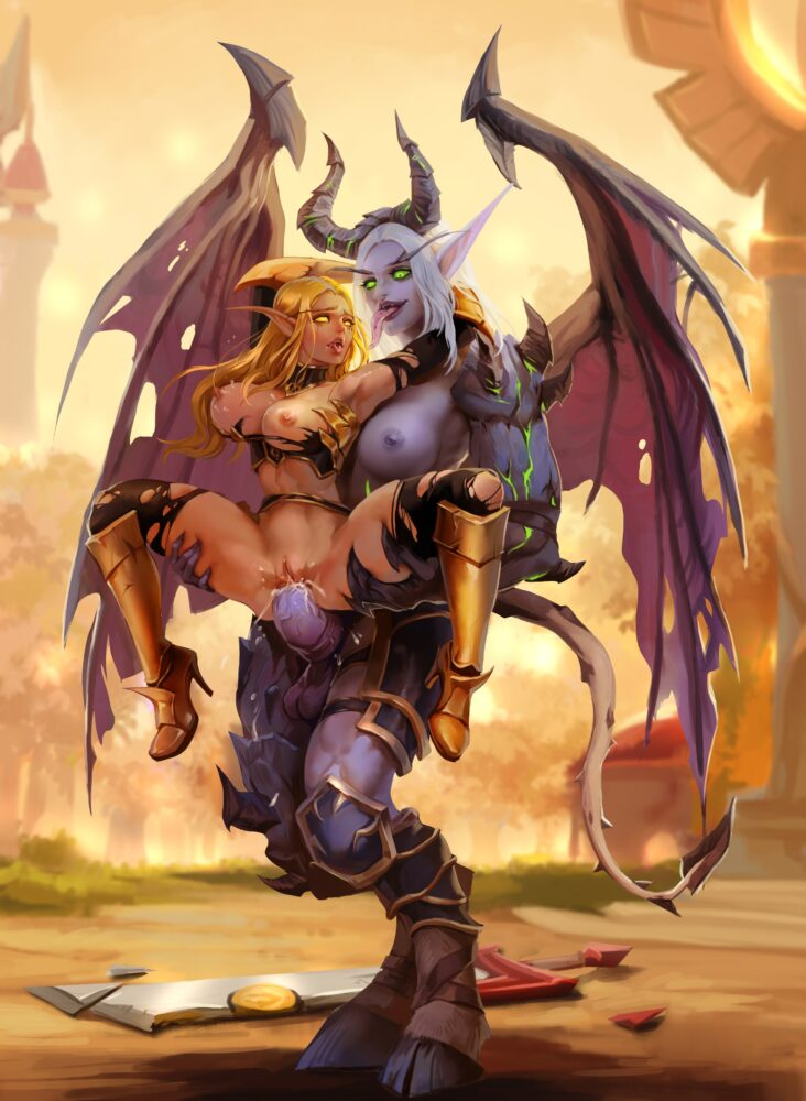 Lynazf - Muscular futanari Demon Hunter Fel Blood Elf warcraft porn